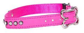 Rogz Lapz 16mm Medium Luna Pin Buckle Dog Collar - Pink