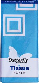 Butterfly Tissue Paper 4 Sheets - Light Blue (T16)