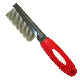 Mcpets Fine Metal Comb With Red Rubber Handle