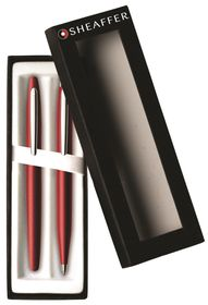 Sheaffer VFM 9403-9 Excessive Red with Nickel Plate Trim Ballpoint & Fountain Pen Set