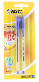 BIC Crystal Medium Xtra Life Ballpoint Pens - Blue (Blister of 2)