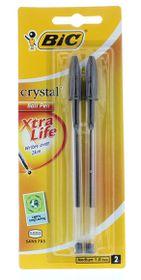 BIC Crystal Medium Xtra Life Ballpoint Pens - Black (Blister of 2)