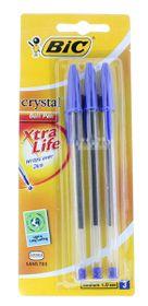 BIC Crystal Medium Xtra Life Ballpoint Pens - Blue (Blister of 3)