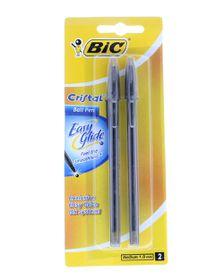 BIC Cristal Easy Glide Ballpoint Pens - Black (Blister of 2)