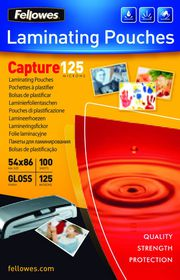 Fellowes Capture125 54x86mm Gloss Laminating Pouches - 125 micron (Pack of 100)