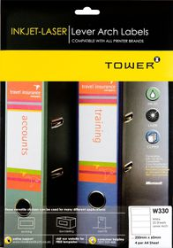 Tower W330 Lever Arch Inkjet-Laser Labels - Pack of 25 Sheets