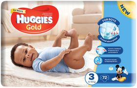 Huggies - Gold Boy Size 3 x 72 Nappies (5-9KG)