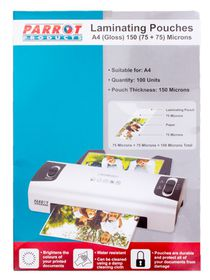 Parrot Laminating Pouch A4 150(75+75) Micron - Pack of 100