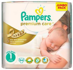 Pampers - Premium Care Nappies - Size 1 - Jumbo Pack (94 count)