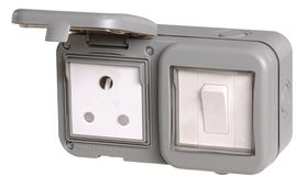Stingray - IP55 Single Switch and Socket - Grey