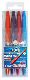 Pilot Frixion Ball Erasable Medium Rollerball Pens - Wallet of 4 Fashion Colours