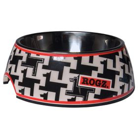 Rogz 2-in-1 Small 160ml Bubble Dog Bowl - Hounds tooth Design