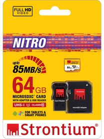 Strontium 64GB Nitro Micro SDHC 566X UHS-1 Card with Adaptor