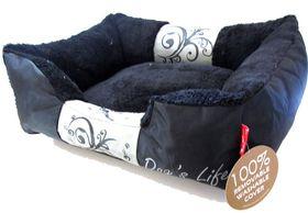 Dog's Life - Waterproof Modern Swirl Winter Bed - Black - Medium