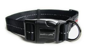 Dog's Life - Reflective Supersoft Webbing Collar - Black - Medium