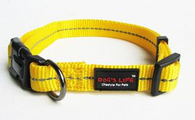 Dog's Life - Reflective Supersoft Webbing Collar Yellow - Extra Large