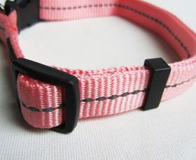 Dog's Life - Reflective Supersoft Webbing Collar - Pink - Large
