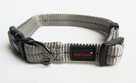 Dog's Life - Reflective Supersoft Webbing Collar Grey - Small