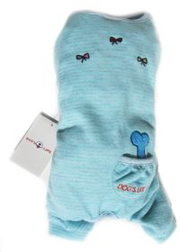 Dog's Life - DL Stripe PJ With Bone & Pocket Baby Blue - 2 x Extra-Small
