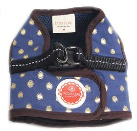 Dog's Life - Polka Dot Harness Vest Blue - Medium