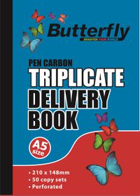 Butterfly A5 Triplicate Book - Delivery 150 Sheets