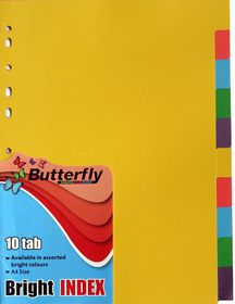 Butterfly A4 10 Tab Bright Board File Dividers