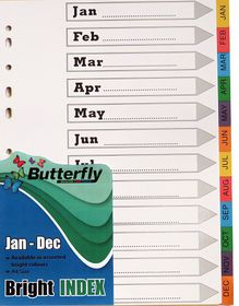 Butterfly A4 12 Tab (Jan-Dec) Bright Board File Dividers