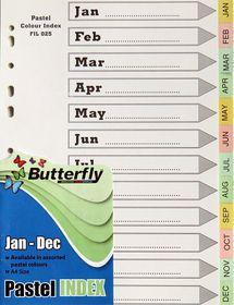 Butterfly A4 12 Tab (Jan-Dec) Pastel Board File Dividers