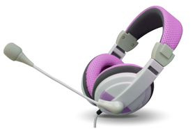 VCOM DE160 Headphone With Microphone 3.5mm Jack - Pink