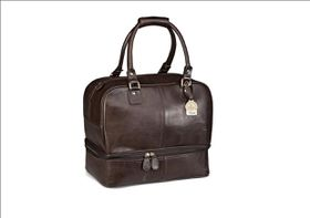 Gary Player Genuine Leather Double Decker Bag -Brown