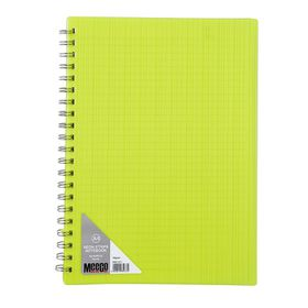 Meeco Neon Stripe A4 80 Ruled Sheets Spiral Bound Notebook - Yellow