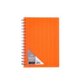 Meeco Neon Stripe A5 80 Ruled Sheets Spiral Bound Notebook - Orange
