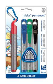 Staedtler Triplus Permanent Markers Chisel Tip - Blister of 4