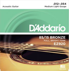 D'Addario EZ920 85/15 Bronze Medium Light Acoustic Guitar Strings - 12-54
