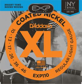 D'Addario EXP110 Coated Nickel Wound Light Electric Guitar Strings - 10-46