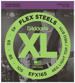 D'Addario EFX165 FlexSteels Bass Long Scale Custom Light Bass Guitar Strings - 45-105