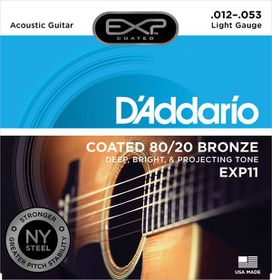 D'Addario EXP11 Coated 80/20 Bronze Light Acoustic Guitar Strings - 12-53