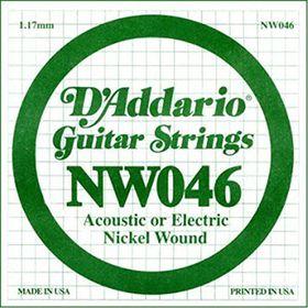 D'Addario NW046 Nickel Wound Single Electric Guitar String -  .046