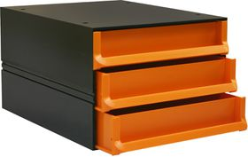 Bantex Texo Modular 3 Drawer Storage System - Orange