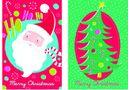8 Mini English Cards -Santa Celebration/Jolly Tree
