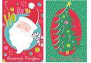 8 Mini Afrikaans Cards -Santa Celebration/Jolly Tree