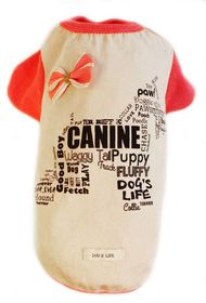 Dog's Life - Canine Waggy Tail Tee with Bow Pink - Extra Large