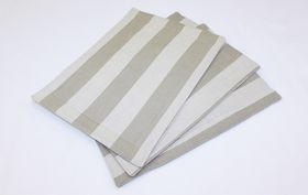 Balducci - Earthstone Placemats Set Of 6 - V Stripe and Khaki