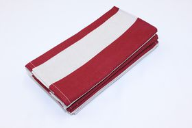Balducci - Earthstone Napkins Set Of 6 - V Stripe and Red