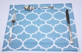 Balducci - 100% Polyester Amboise Design Placemats Set Of 6 - Duck Egg