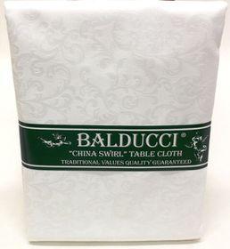 Balducci - China Swirl White Tablecloth - 12 Seater