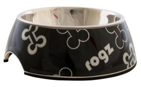 Rogz Lapz 2-in-1 Black Bones Bubble Bowl - Small