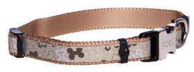 Rogz Lapz Trendy Brown Bones Side Release Dog Collar - Small