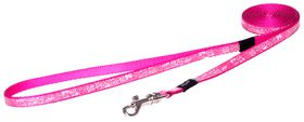 Rogz Lapz Trendy Pink Bones Fixed Long Dog Lead - Extra Small