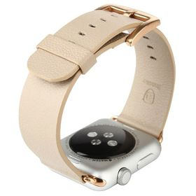 Tuff-Luv Classic Buckle Genuine Leather WatchBand for the Apple Watch 42mm - Khaki (Beige)